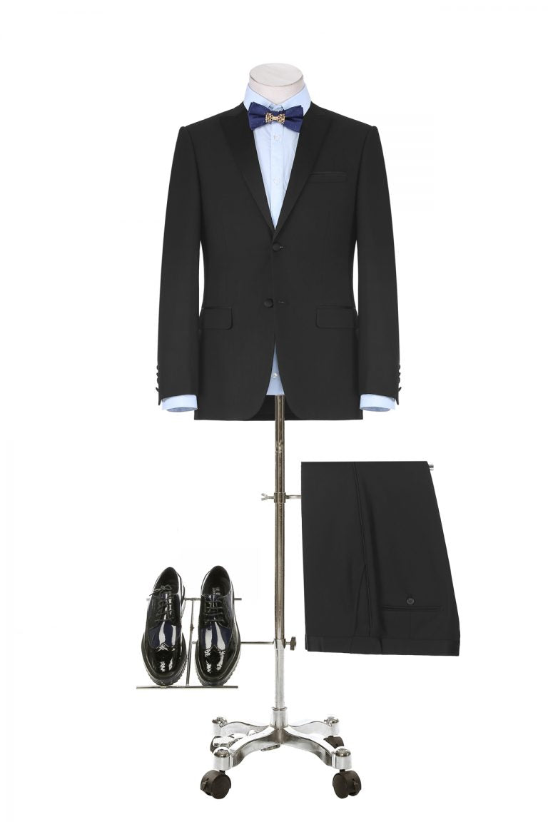 BUILD YOUR PACKAGE: Black Tuxedo (Package Includes 2 Pc Suit, Shirt, Necktie or Bow Tie, & Matching Pocket Square)