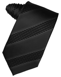 Black Venetian Pin Dot Striped Necktie
