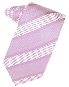 Light Champagne Venetian Pin Dot Striped Necktie