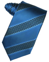 Load image into Gallery viewer, Navy Venetian Pin Dot Striped Necktie