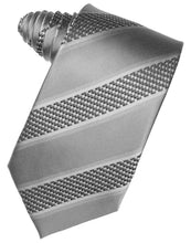 Load image into Gallery viewer, Platinum Venetian Pin Dot Striped Necktie