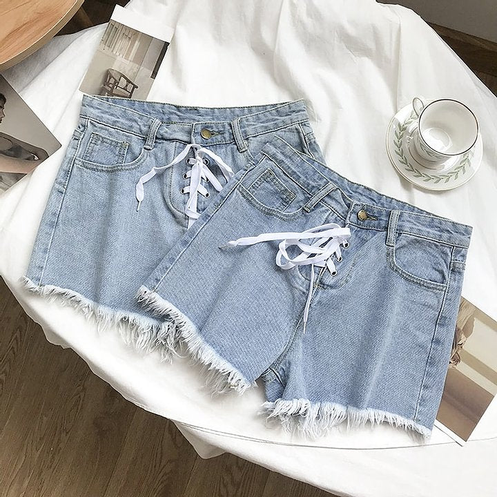 Lace Up High Waist Denim Shorts