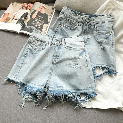 Summer High Waist Denim Shorts