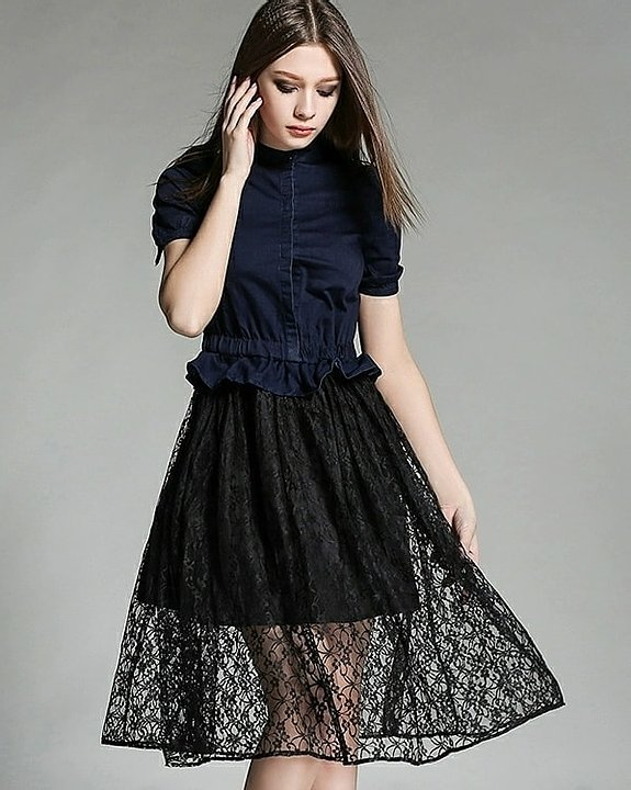 Lace Trimmed Denim Dress