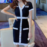 Bodycon Knit Dress with Button
