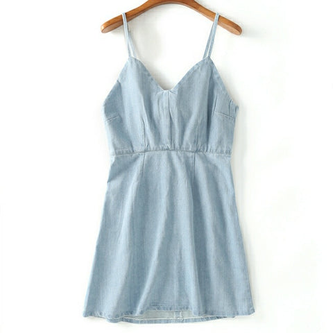 Back Zipper Denim Tube Romper