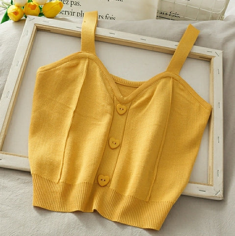 Heart Button Knit Crop Top in Yellow