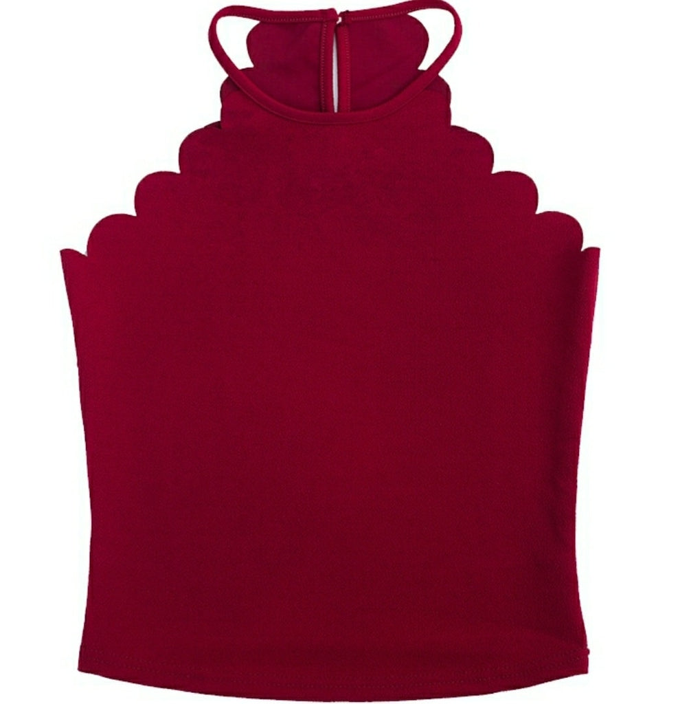 Scallop Halter Top in Maroon