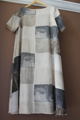 The Trapeeze Dress from Merchant and Mills, Made from a discontinued nani IRO canvas print