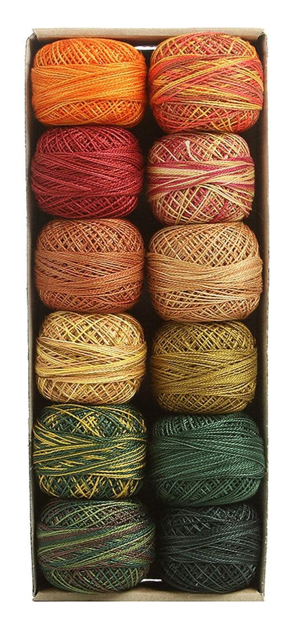 Accents 2 Autumn ~ Size 12 Valdani Pearl Cotton Set of Twelve 109 Yard Balls