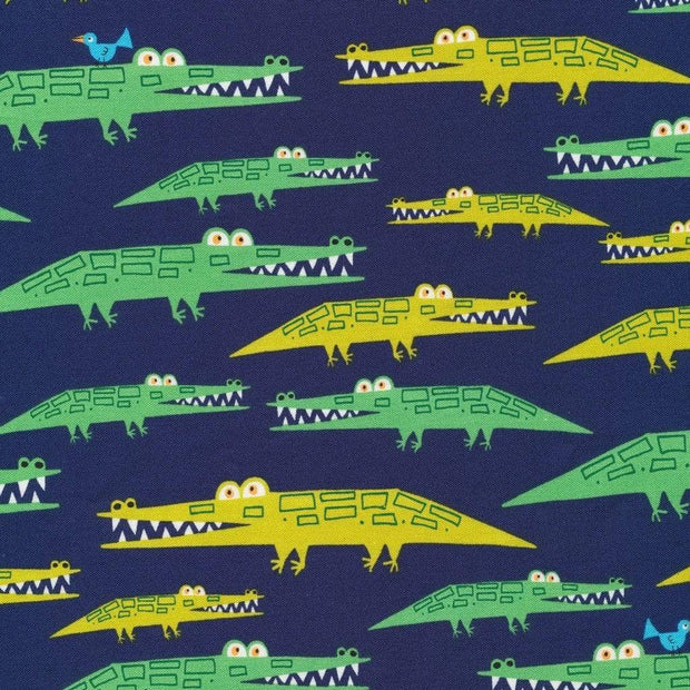 Alligators in Navy, Laminate by Cloud 9 Fabrics