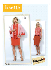 Banded Jacket, Notch-Neck Top and Pencil Skirts, Larger Sizes, Lisette for Butterick B6464