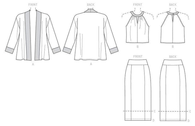 Banded Jacket, Notch-Neck Top and Pencil Skirts, Smaller Sizes, Lisette for Butterick B6464