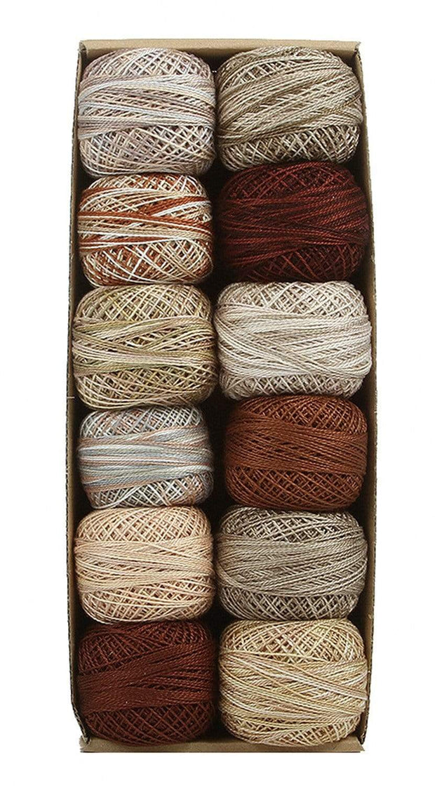 Beige & Browns ~ Size 12 Valdani Pearl Cotton Set of Twelve 109 Yard Balls