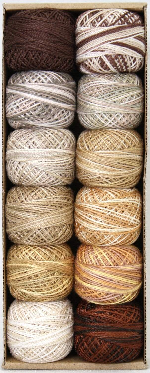 Beige & Browns ~ Size 8 Valdani Pearl Cotton Set of Twelve 73 Yard Balls