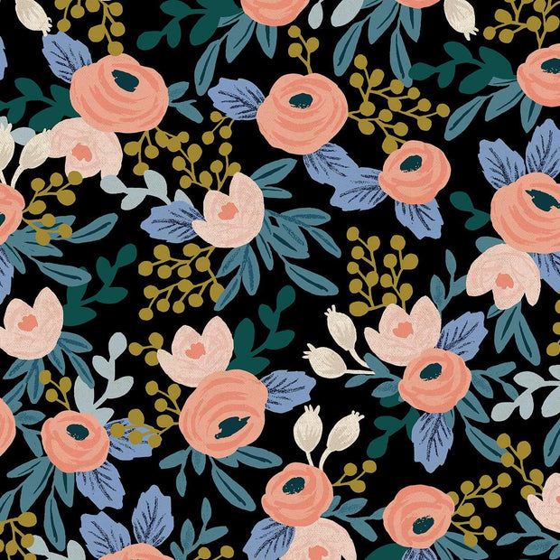 Canvas ~ Rosa in Black Unbleached ~ Garden Party by Rifle Paper Co.