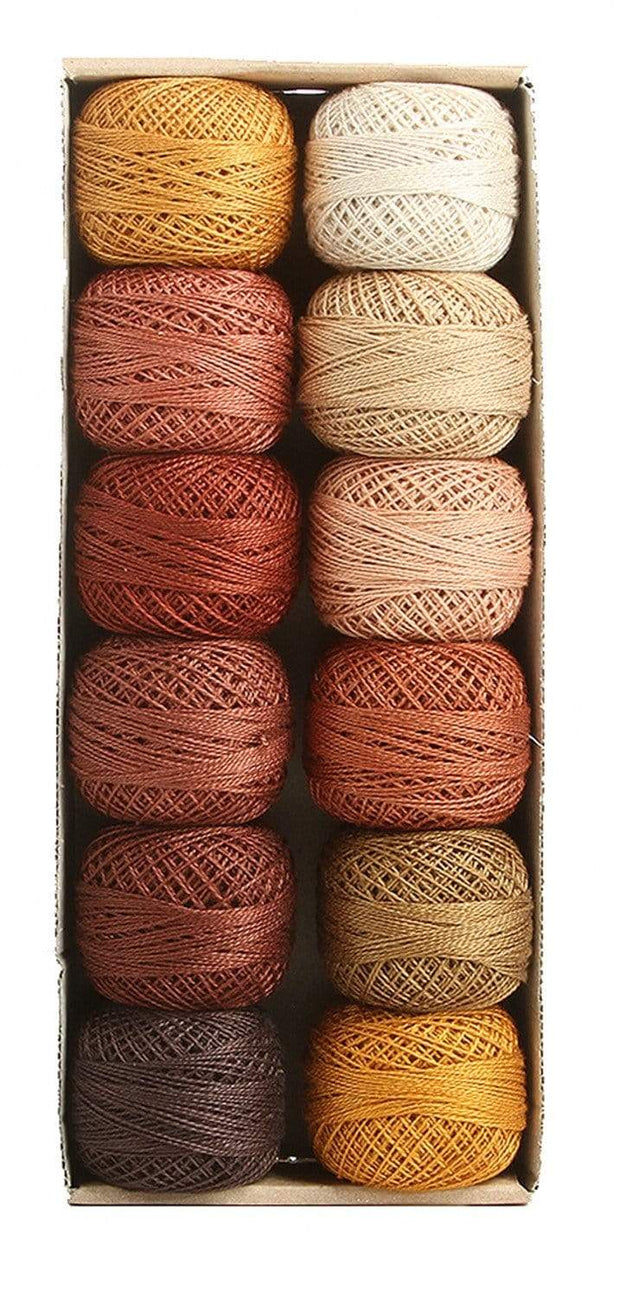 Delicious Chocolate ~ Size 12 Valdani Pearl Cotton Set of Twelve 109 Yard Balls