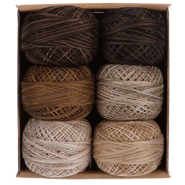 Essential Neutrals  ~ Size 12 Valdani Pearl Cotton Set of Six 109 Yard Balls