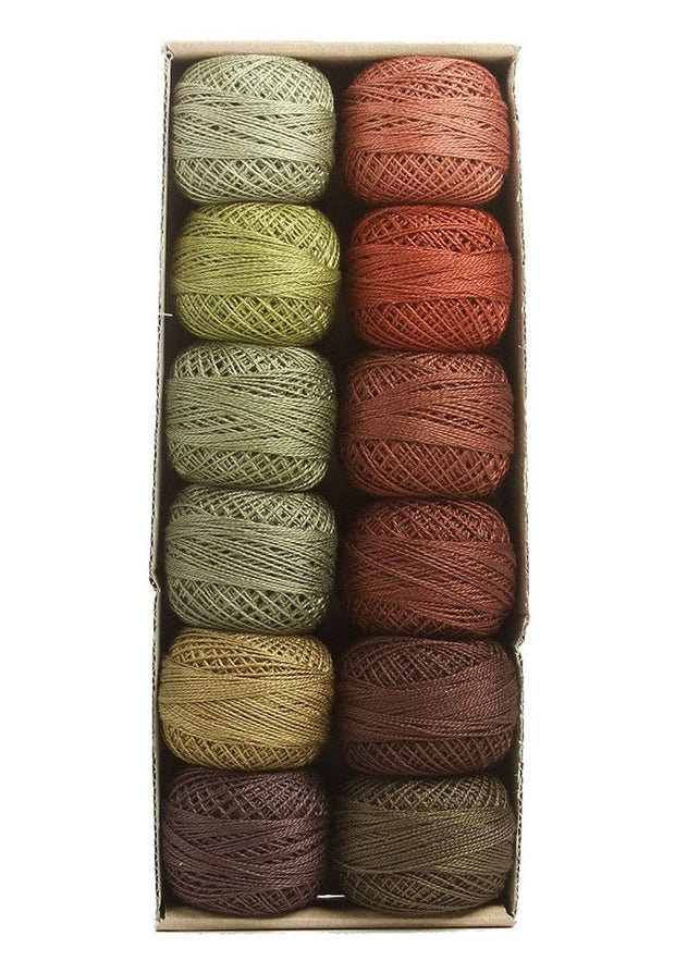 Forest Canvas ~ Size 12 Valdani Pearl Cotton Set of Twelve 109 Yard Balls