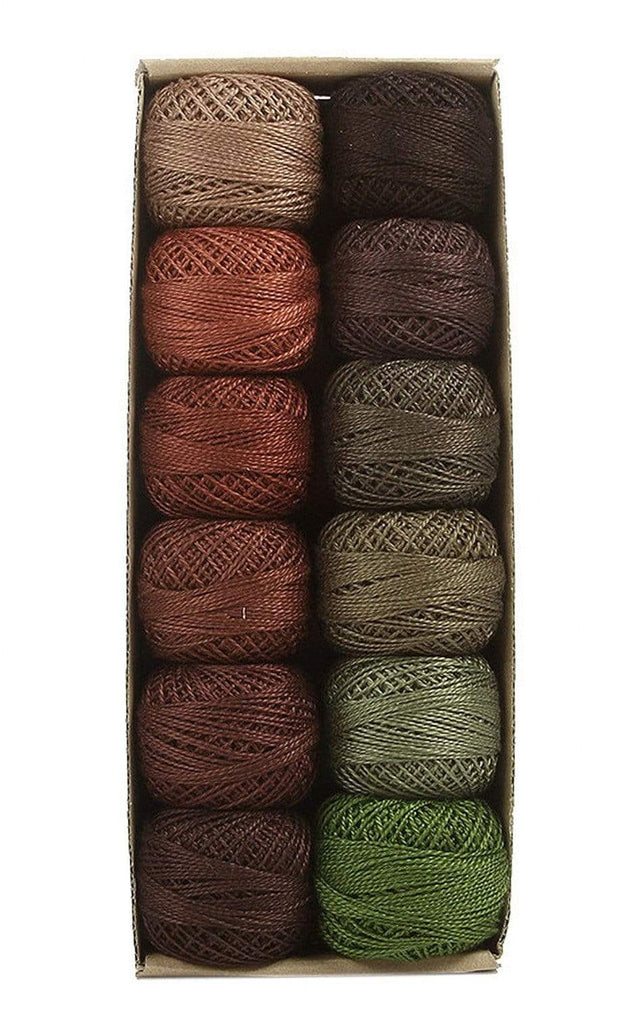 Forest Canvas ~ Size 8 Valdani Pearl Cotton Set of Twelve 73 Yard Balls