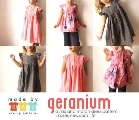 Geranium Dress and Top, Sizes 0 - 5T, Made by Rae