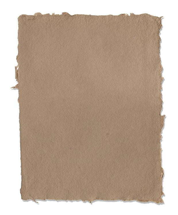Handmade Deckle Edge Pastel Paper in Tan