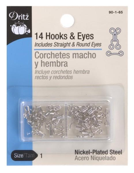 Hooks & Eyes Nickel, Size 3