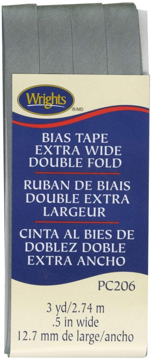 "Light Grey, 1/2"" Double Fold Bias Tape, Wrights"