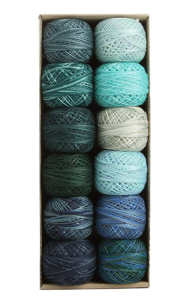 Ocean Waves ~ Size 12 Valdani Pearl Cotton Set of Twelve 109 Yard Balls