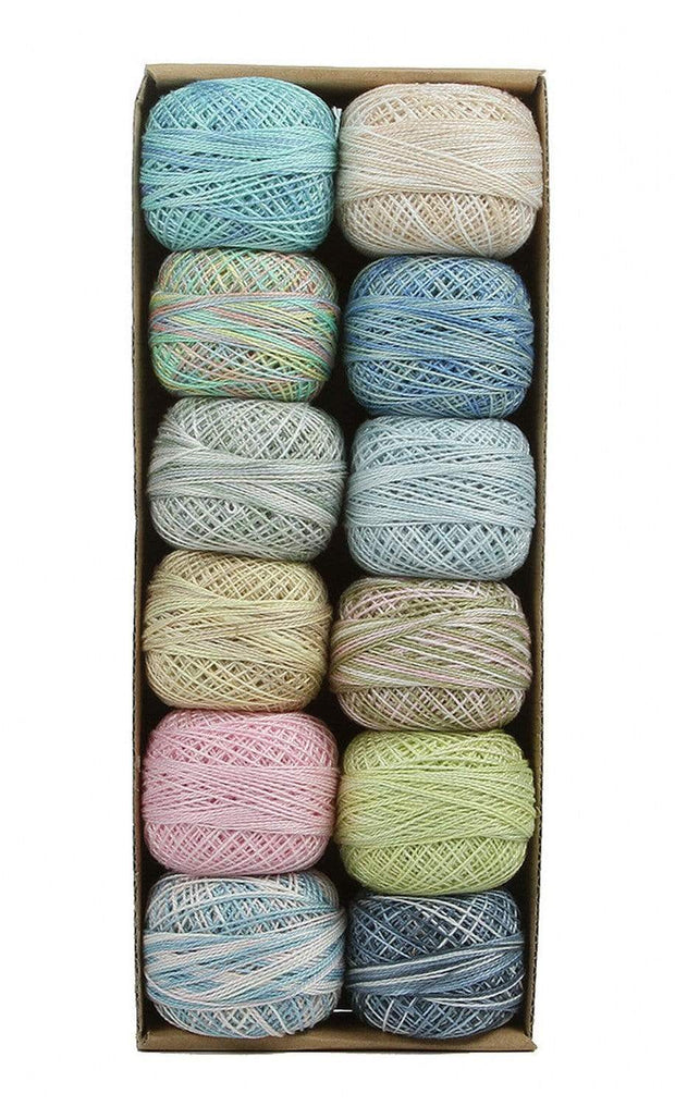 Pastels ~ Size 12 Valdani Pearl Cotton Set of Twelve 109 Yard Balls