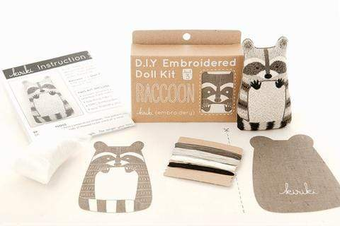 Raccoon Embroidery Kit from Kiriki