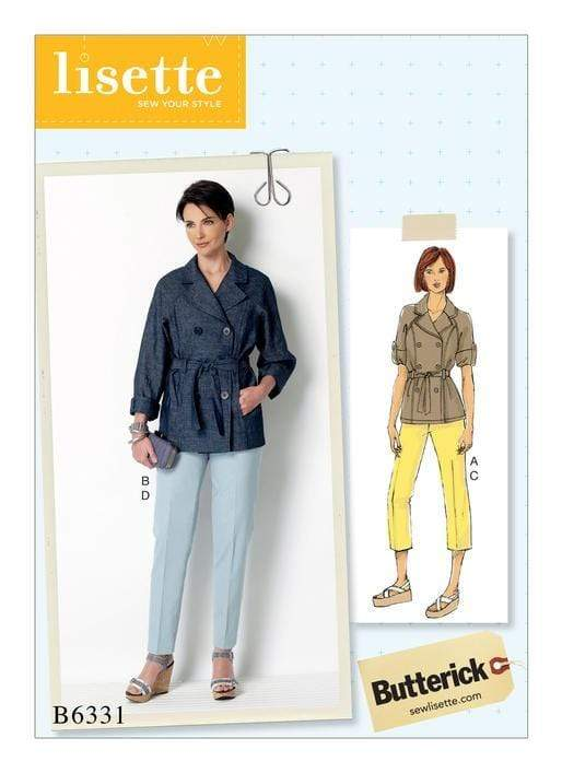 Raglan Sleeve Trench Jacket and Tapered Pants, Larger Sizes, Lisette for Butterick B6331