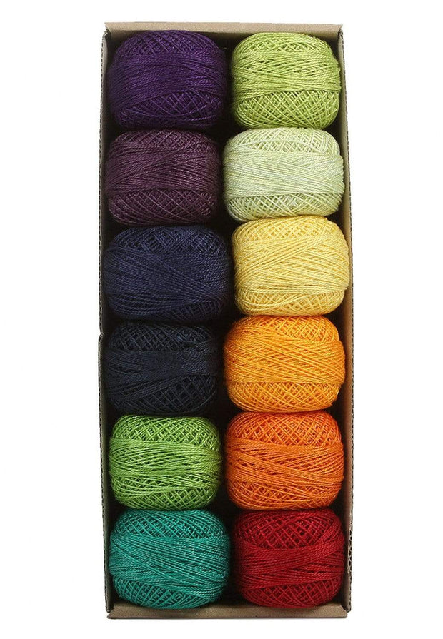 Rainbow Dark ~ Size 12 Valdani Pearl Cotton Set of Twelve 109 Yard Balls