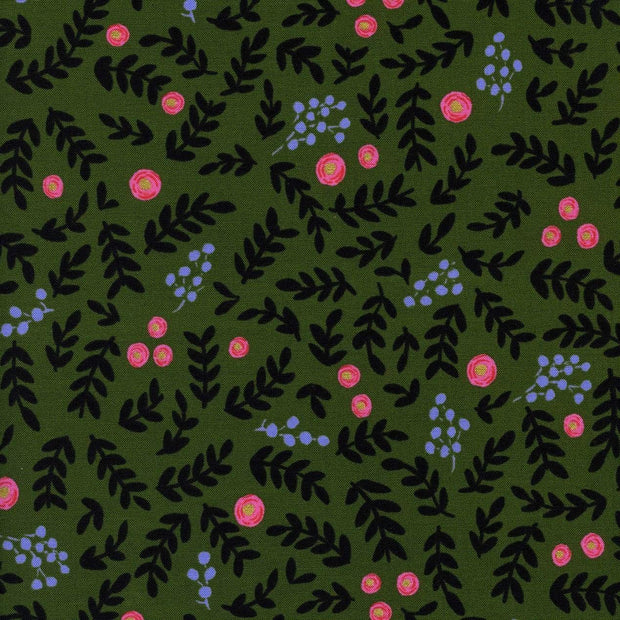 Rose Garden in Moss Metallic, Wonderland by Rifle Paper Co.