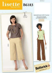 Seam-Detail Top, Culottes and Pants, Larger Sizes, Lisette for Butterick B6183