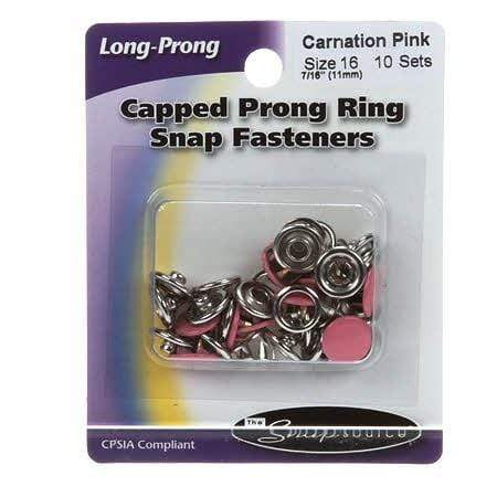 Snap Setter Capped Fasteners, Carnation Pink, 10 Sets, Size 16