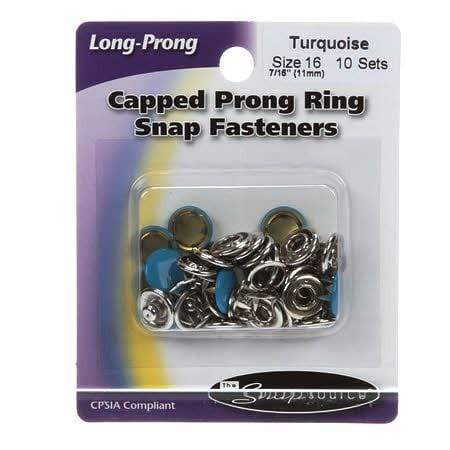 Snap Setter Capped Fasteners, Turquoise, 10 Sets, Size 16
