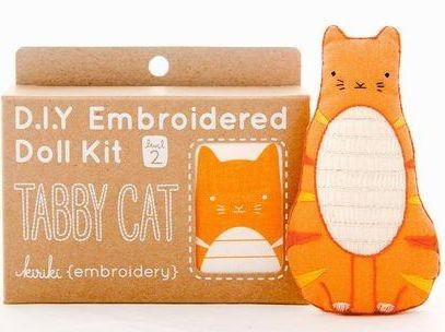Tabby Cat Embroidery Kit from Kiriki