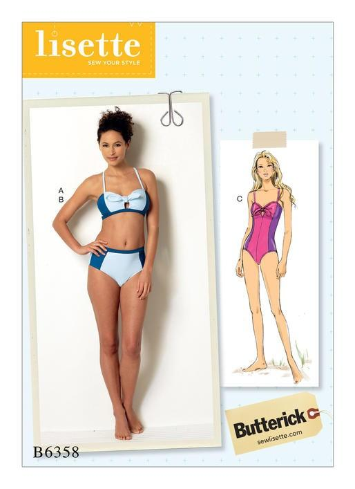Tie-Detail Bikini and One-Piece Swimsuit, Larger Sizes, Lisette for Butterick B6358