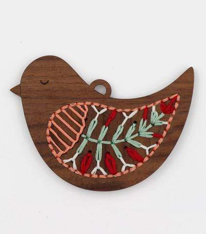 Wooden Bird Stitched Ornament Kit from Kiriki