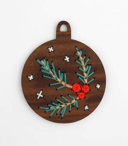 Wooden Pine Branch Stitched Ornament Kit from Kiriki