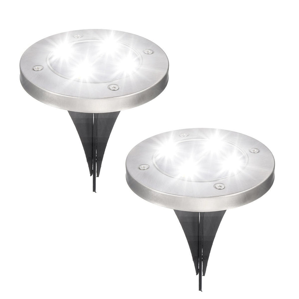 Aglow™ 2PCS Outdoor Solar Path Lights for Walkway or Garden- LED & Waterproof- Bright White