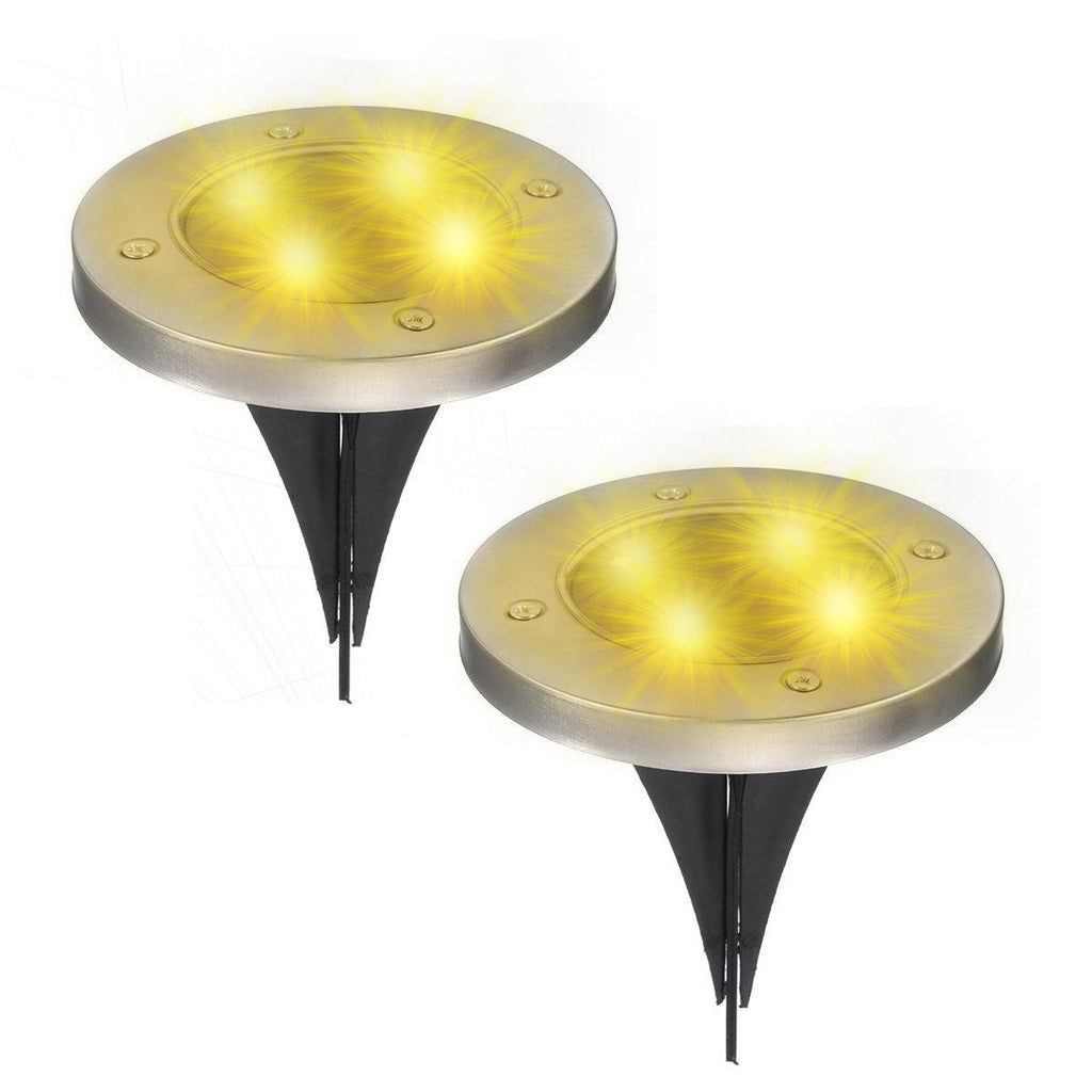 Aglow™ 2PCS Outdoor Solar Path Lights for Walkway or Garden- LED & Waterproof- Warm Bright White