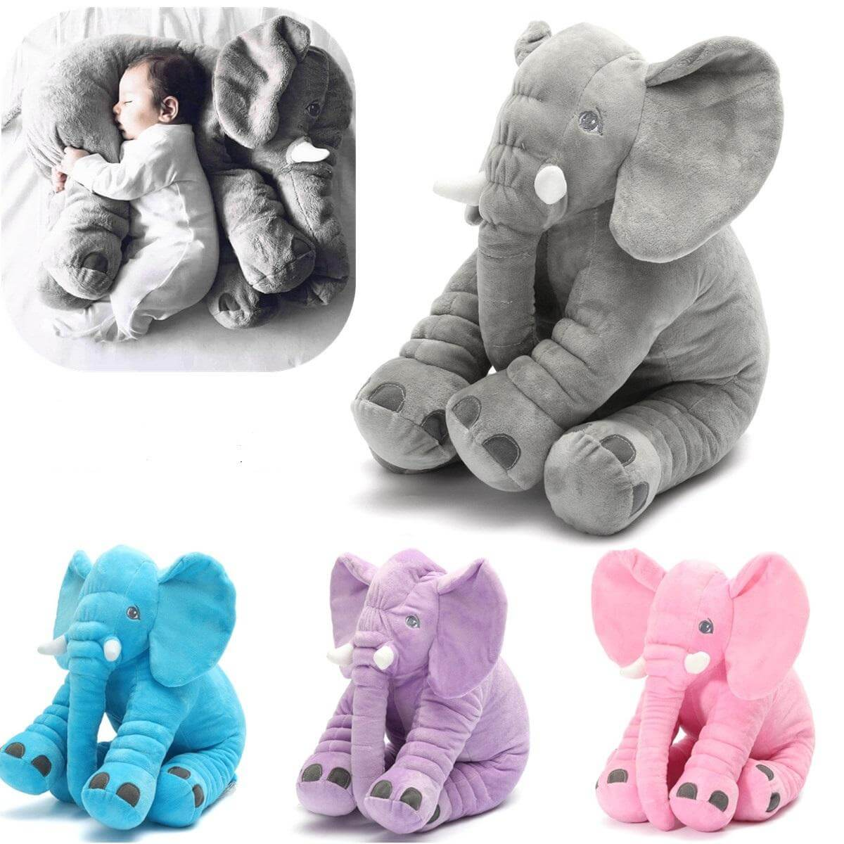 AnimalLove™ Stuffed Animal Elephant Pillow for Toddlers, Infants or Kids