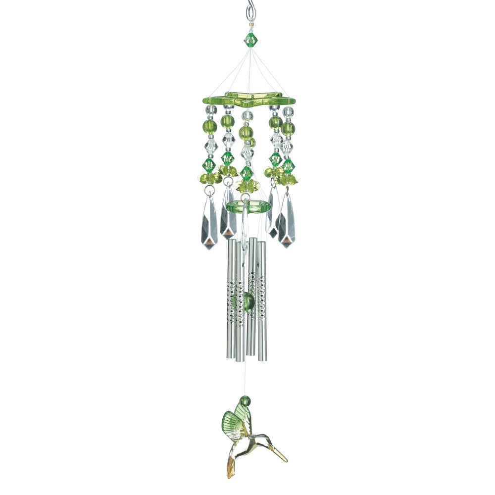 Bargainova Wind Chime with Green Hummingbirds Outdoor Garden Decor
