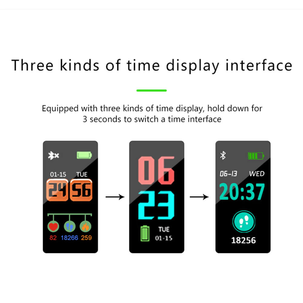 Blood Pressure and Heart Rate Monitor Smartwatch Display