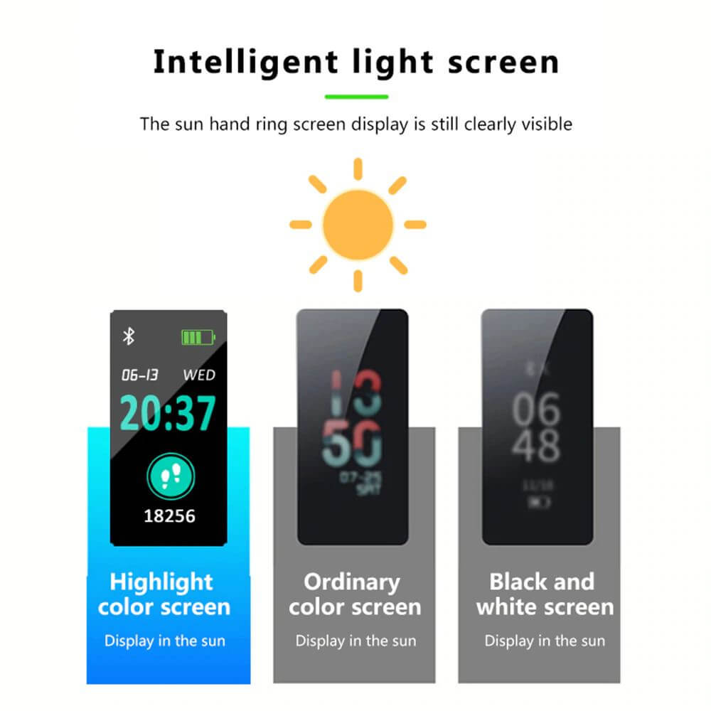 Blood Pressure and Heart Rate Monitor Smartwatch Light Screen