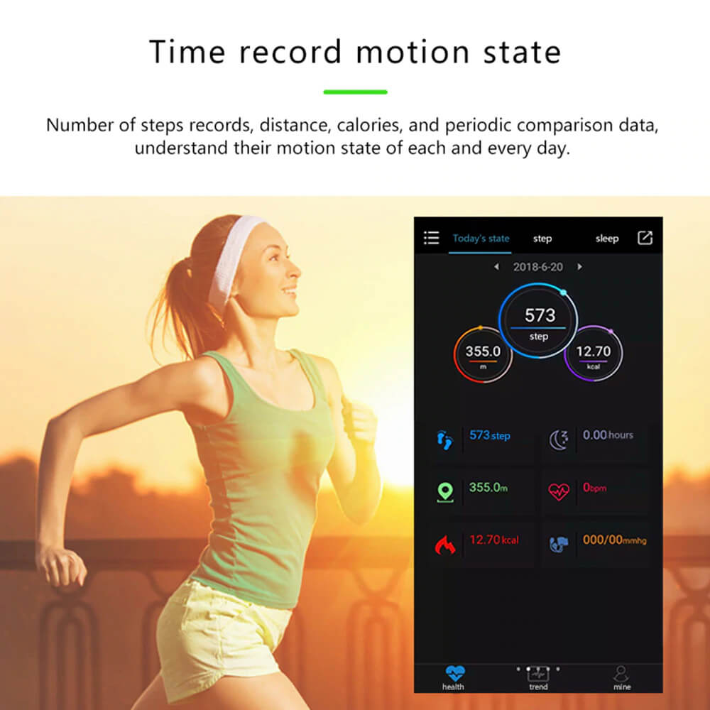Blood Pressure and Heart Rate Monitor Smartwatch with Time Record Motion State
