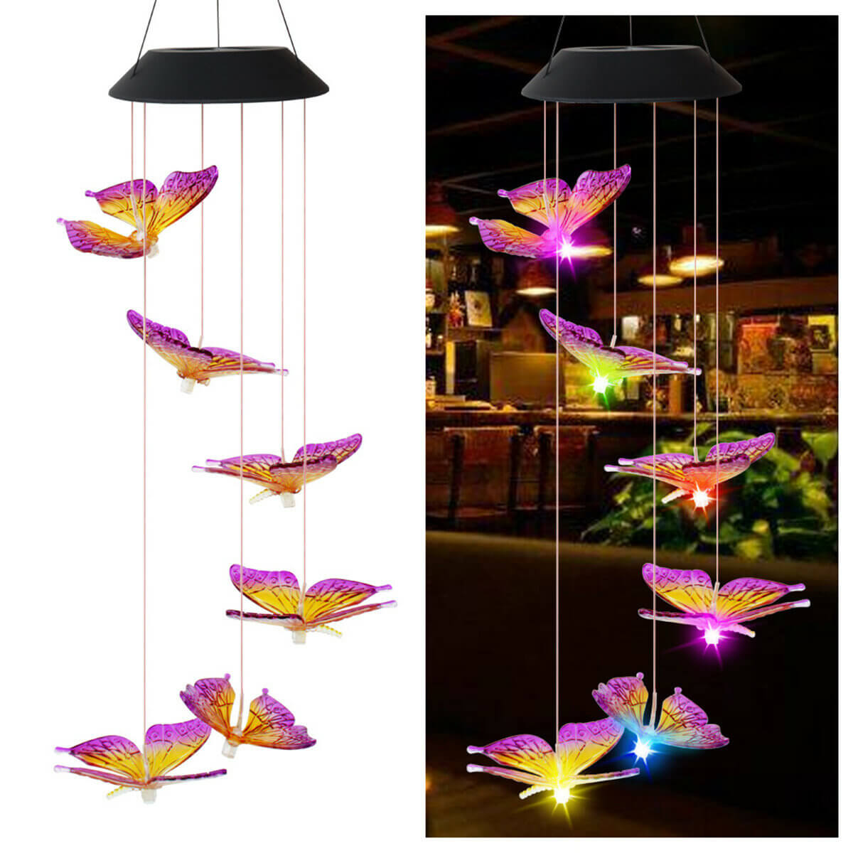 Bargainova™ Color Changing Hummingbird Wind Chime with Solar LED
