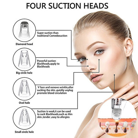 Four Suction Heads- Diamond Head, Big circle Hole Head, Oval Hole Head, and Small Circle Head. All to assistant in the removal of blackheads